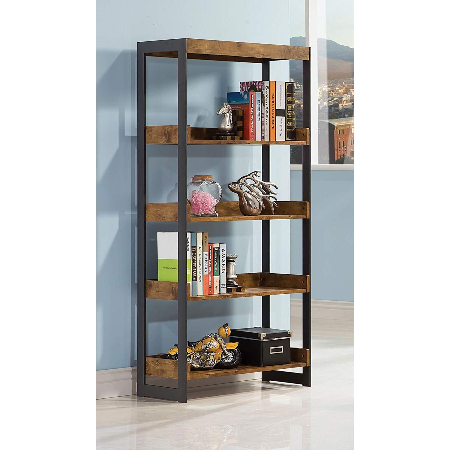 Nutmeg Bookcase With Gunmetal Frame - image-3