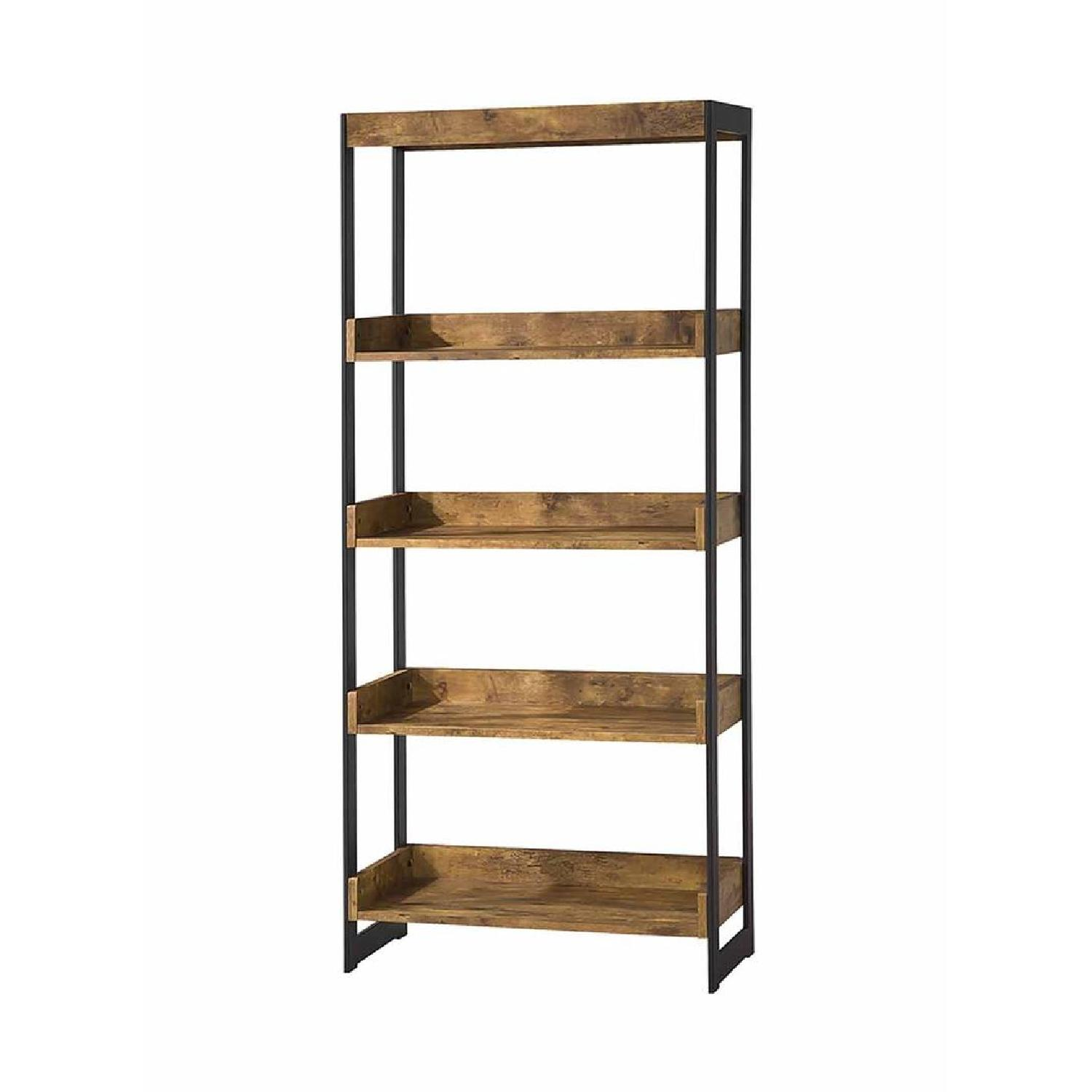 Nutmeg Bookcase With Gunmetal Frame - image-0