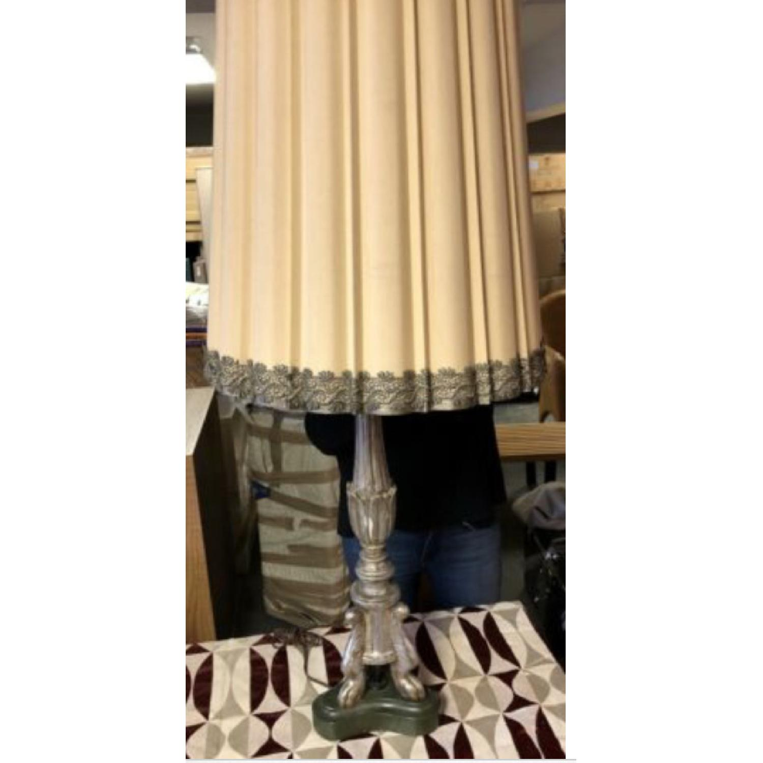 Antique Silver Wooden Lamp - image-1