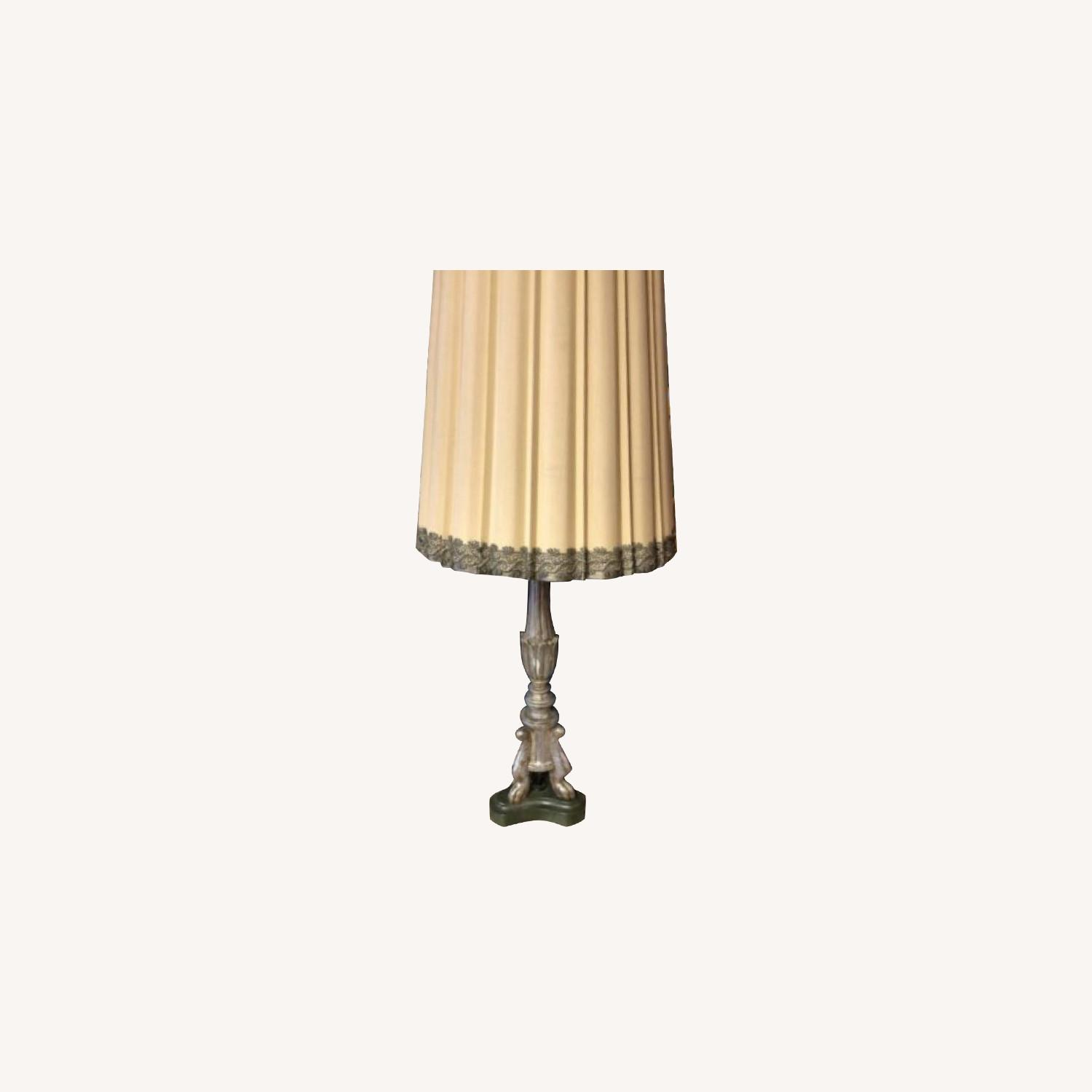 Antique Silver Wooden Lamp - image-0