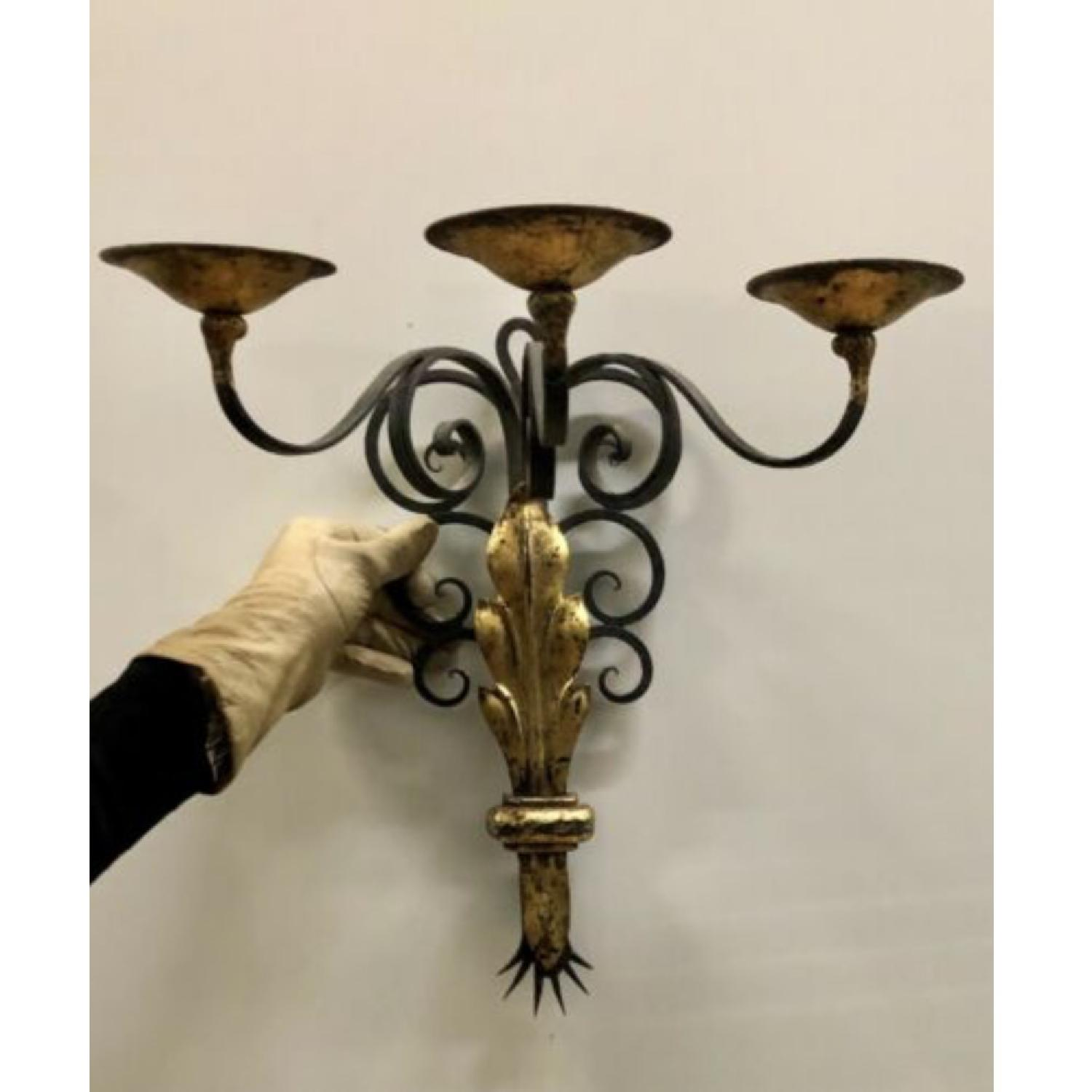 1940's French Black and Gold leaf Wrought iron Sconces - image-1