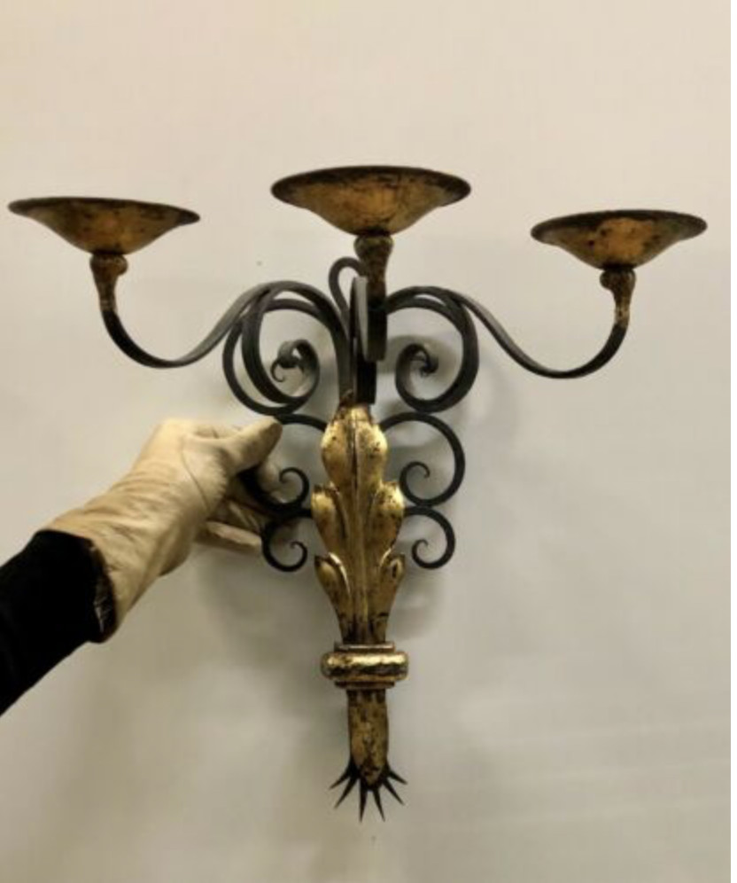 1940's French Black and Gold leaf Wrought iron Sconces