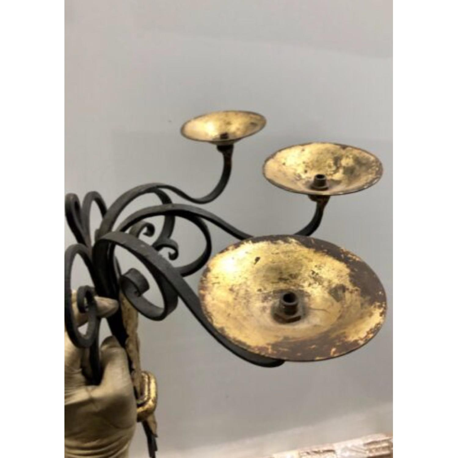 1940's French Black and Gold leaf Wrought iron Sconces - image-2