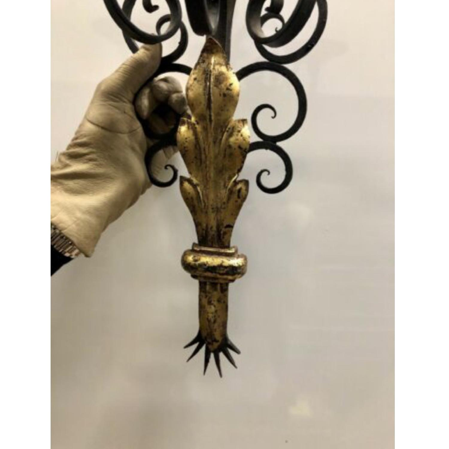 1940's French Black and Gold leaf Wrought iron Sconces - image-3