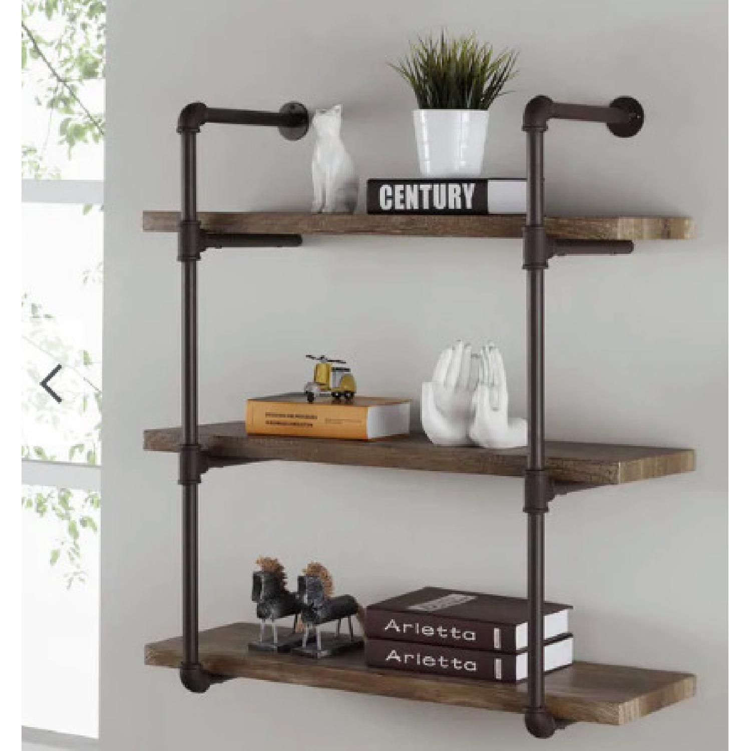 Danya B. Three Tier Faux Wood Industrial Pipe Wall Shelf - image-1