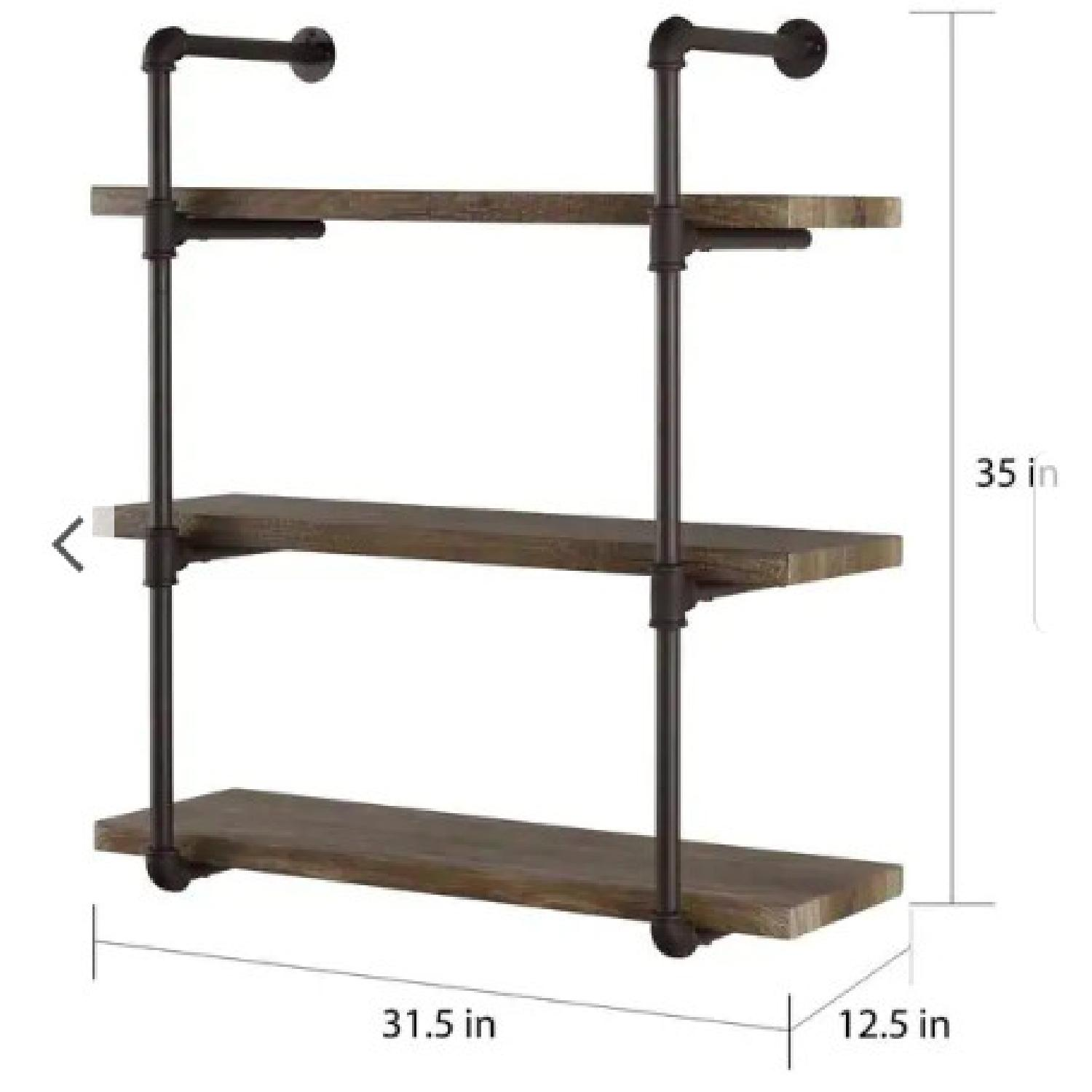 Danya B. Three Tier Faux Wood Industrial Pipe Wall Shelf - image-2