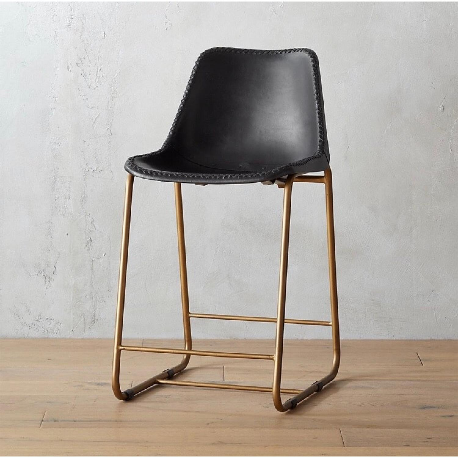 CB2 Roadhouse Black Leather Counter Stools - image-3