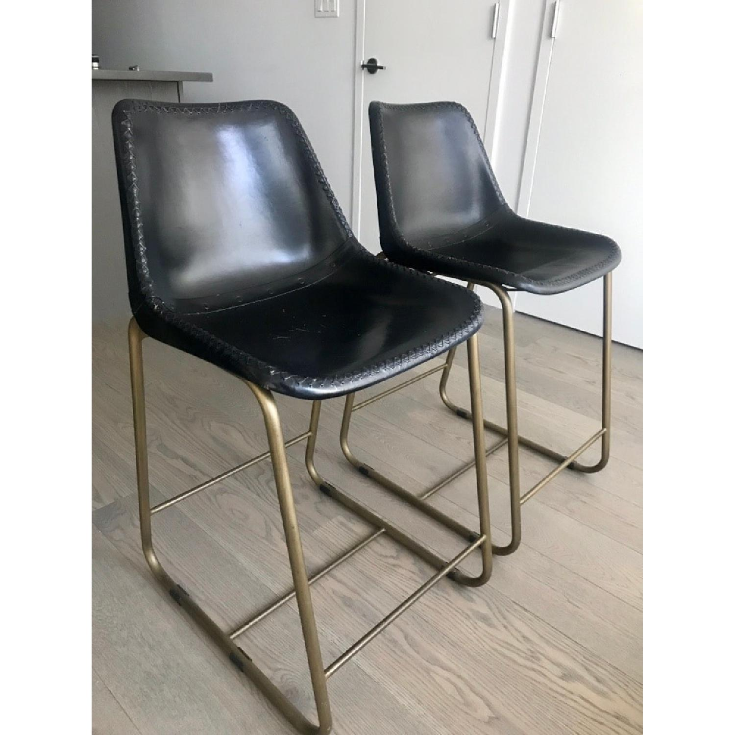 CB2 Roadhouse Black Leather Counter Stools - image-6