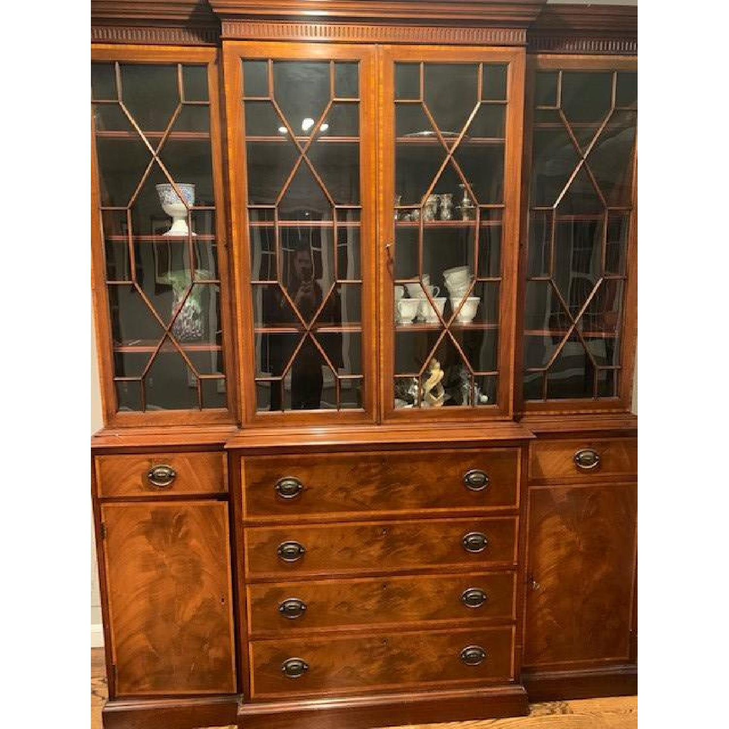 Vintage Antique 1940s Wood China Cabinet Credenza - image-1