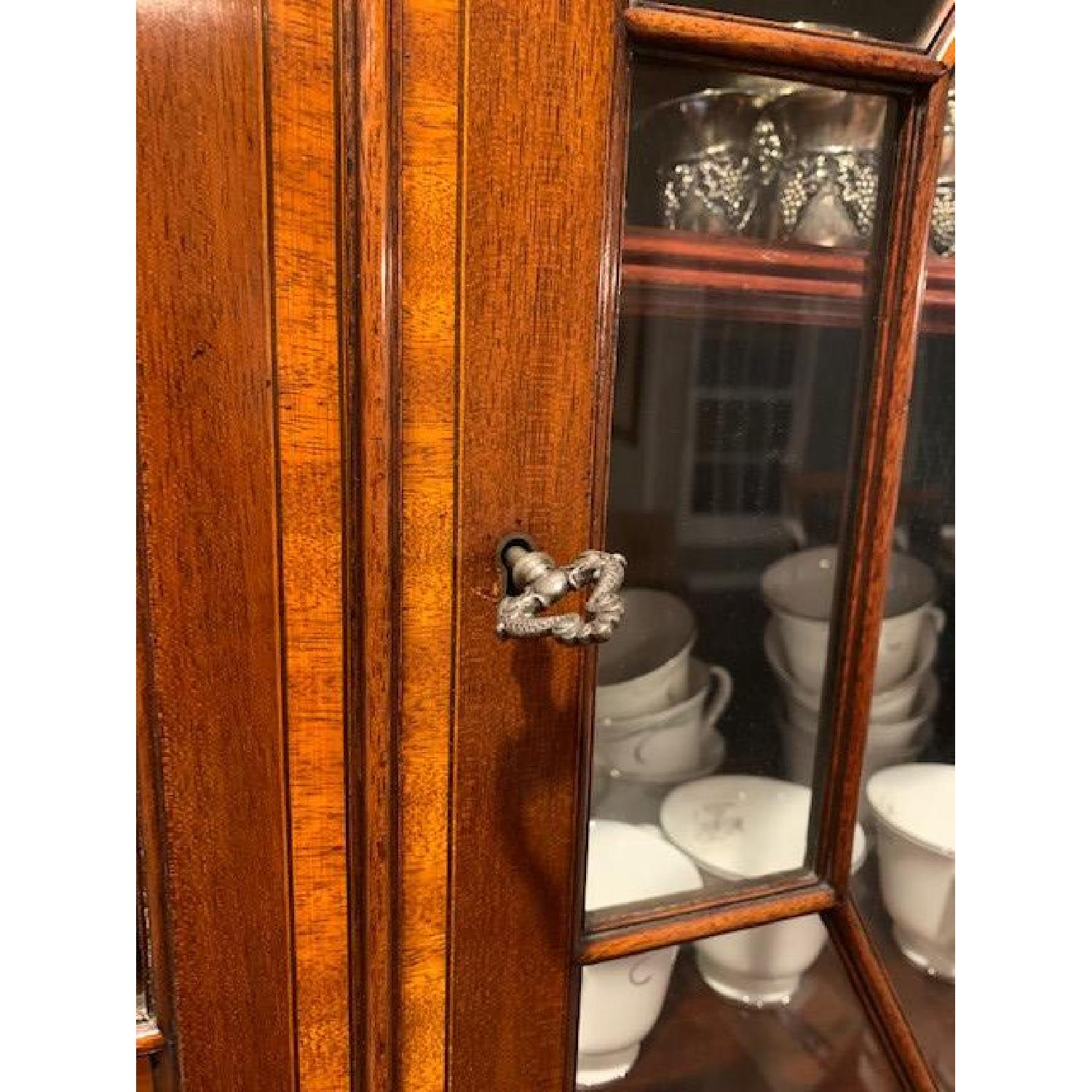 Vintage Antique 1940s Wood China Cabinet Credenza - image-6