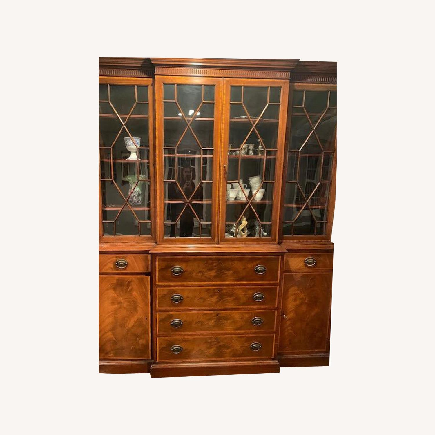 Vintage Antique 1940s Wood China Cabinet Credenza - image-0