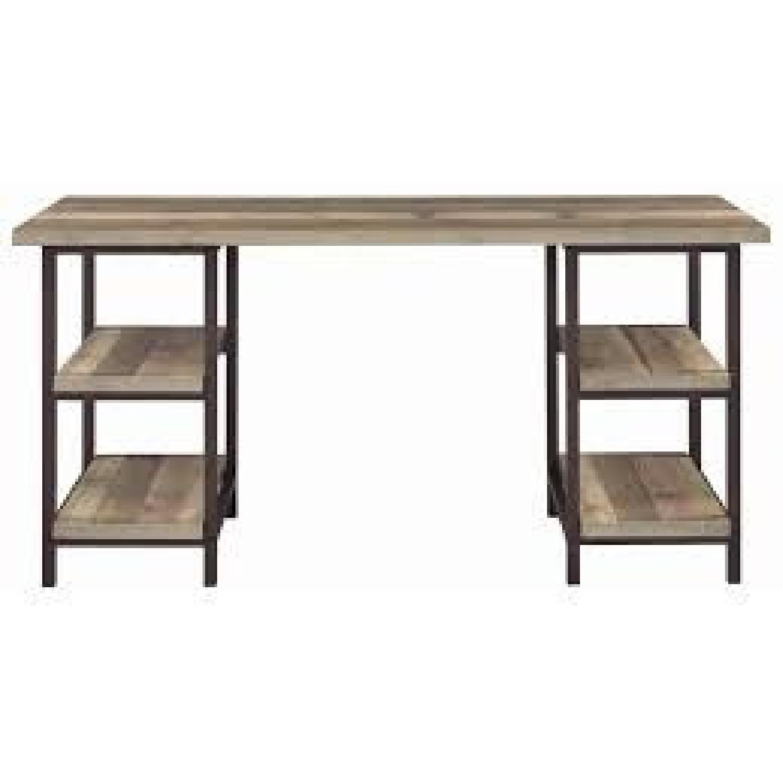 Weathered Pine Desk in Dark Bronze Finish - image-1