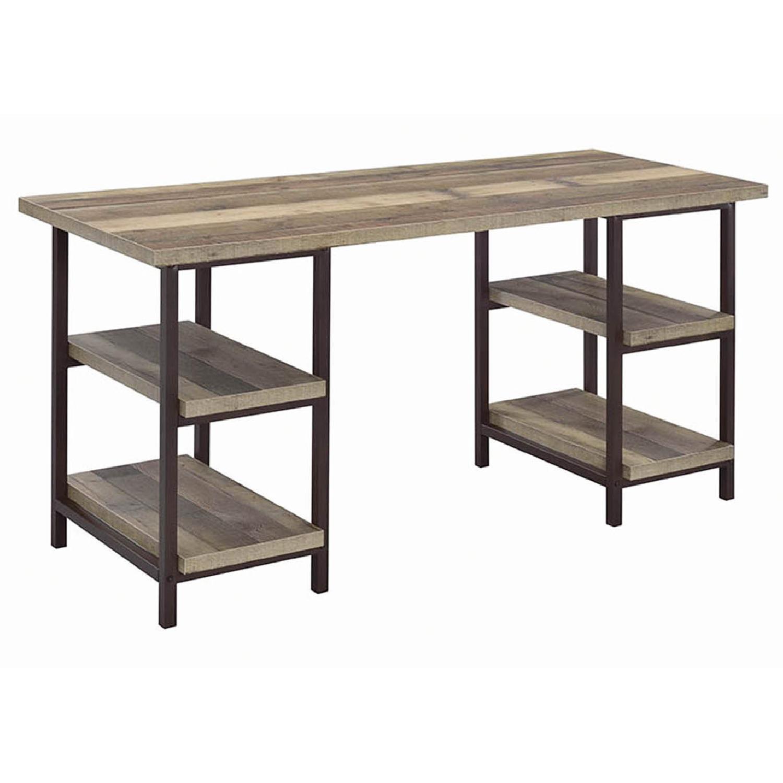 Weathered Pine Desk in Dark Bronze Finish - image-0