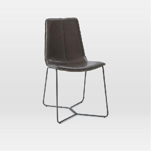 Used West Elm Slope Charcoal Leather Dining Chair w/ Charcoal Leg for sale on AptDeco