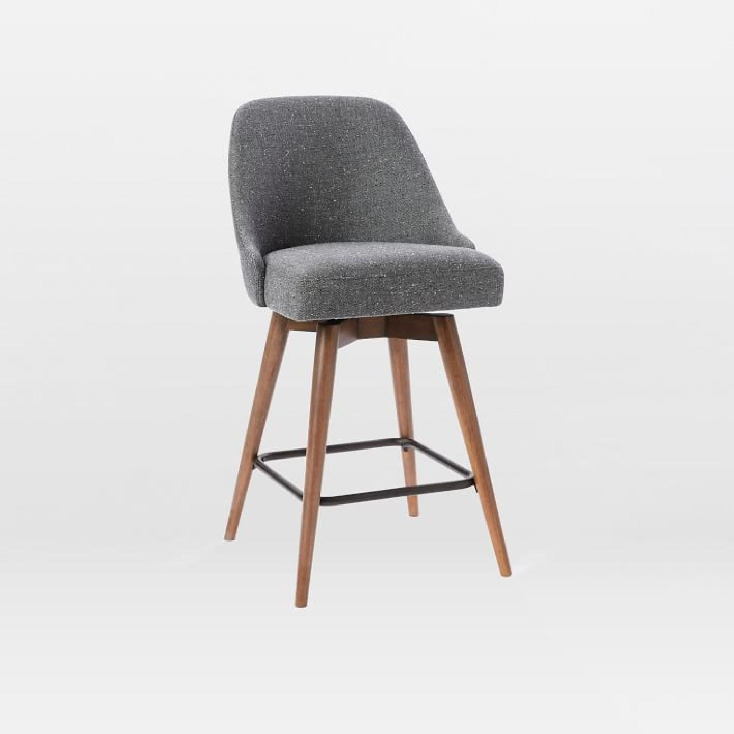West Elm Mid-Century Salt + Pepper Upholstered Counter Stool - image-0