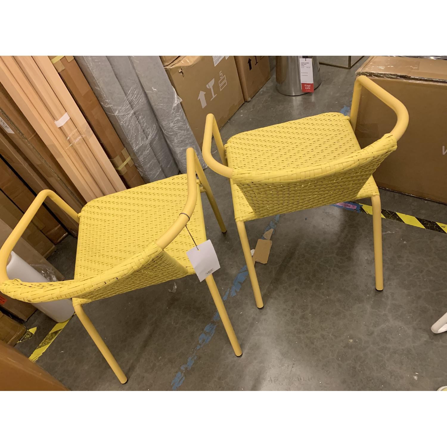 West Elm Woven Outdoor Stacking Chairs - image-1