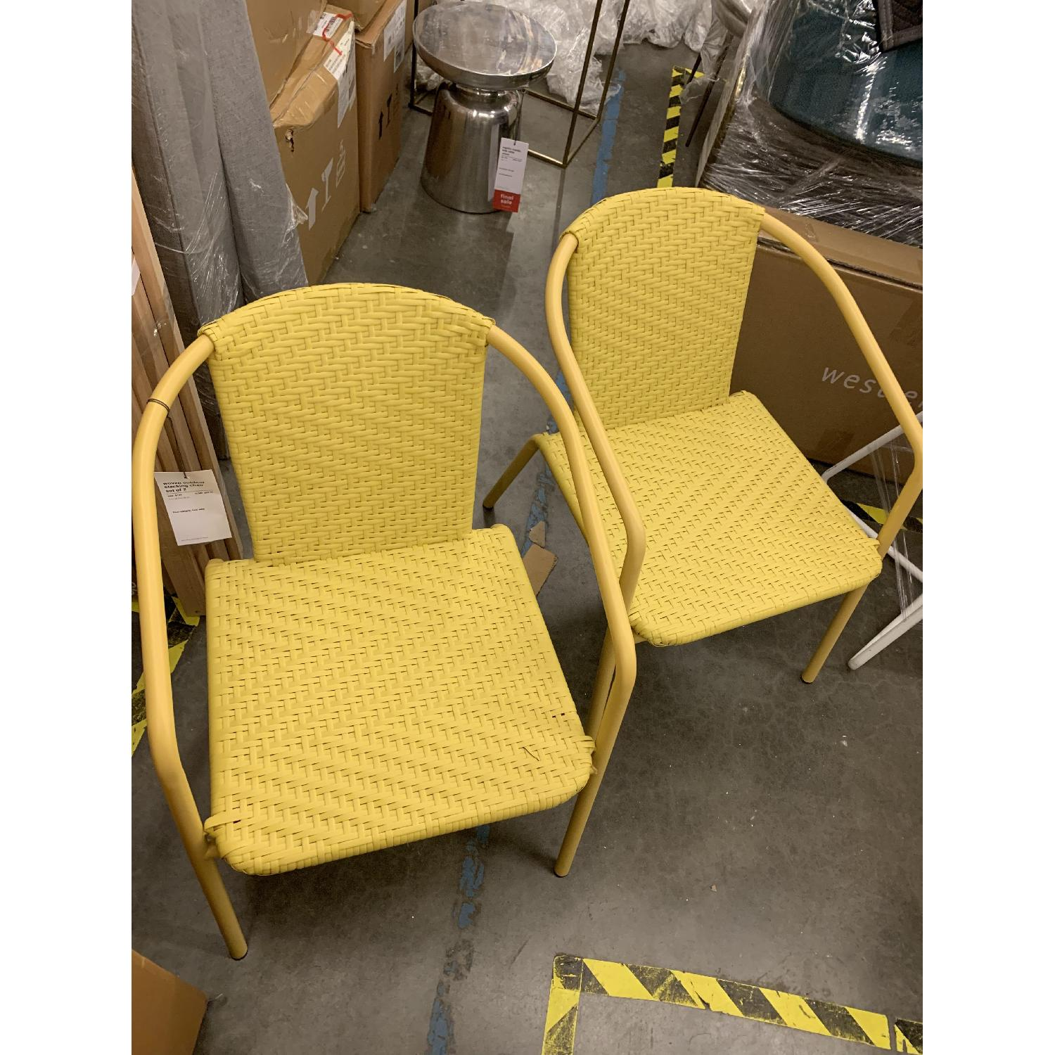 West Elm Woven Outdoor Stacking Chairs - image-3