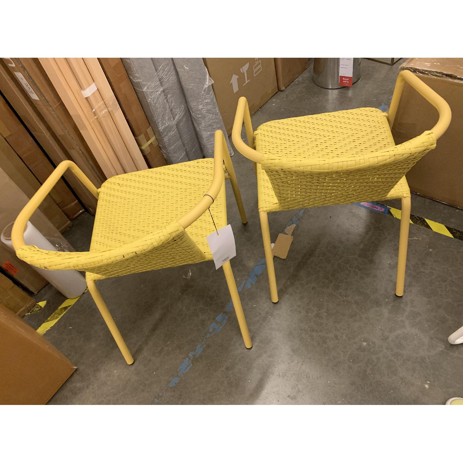 West Elm Woven Outdoor Stacking Chairs - image-4