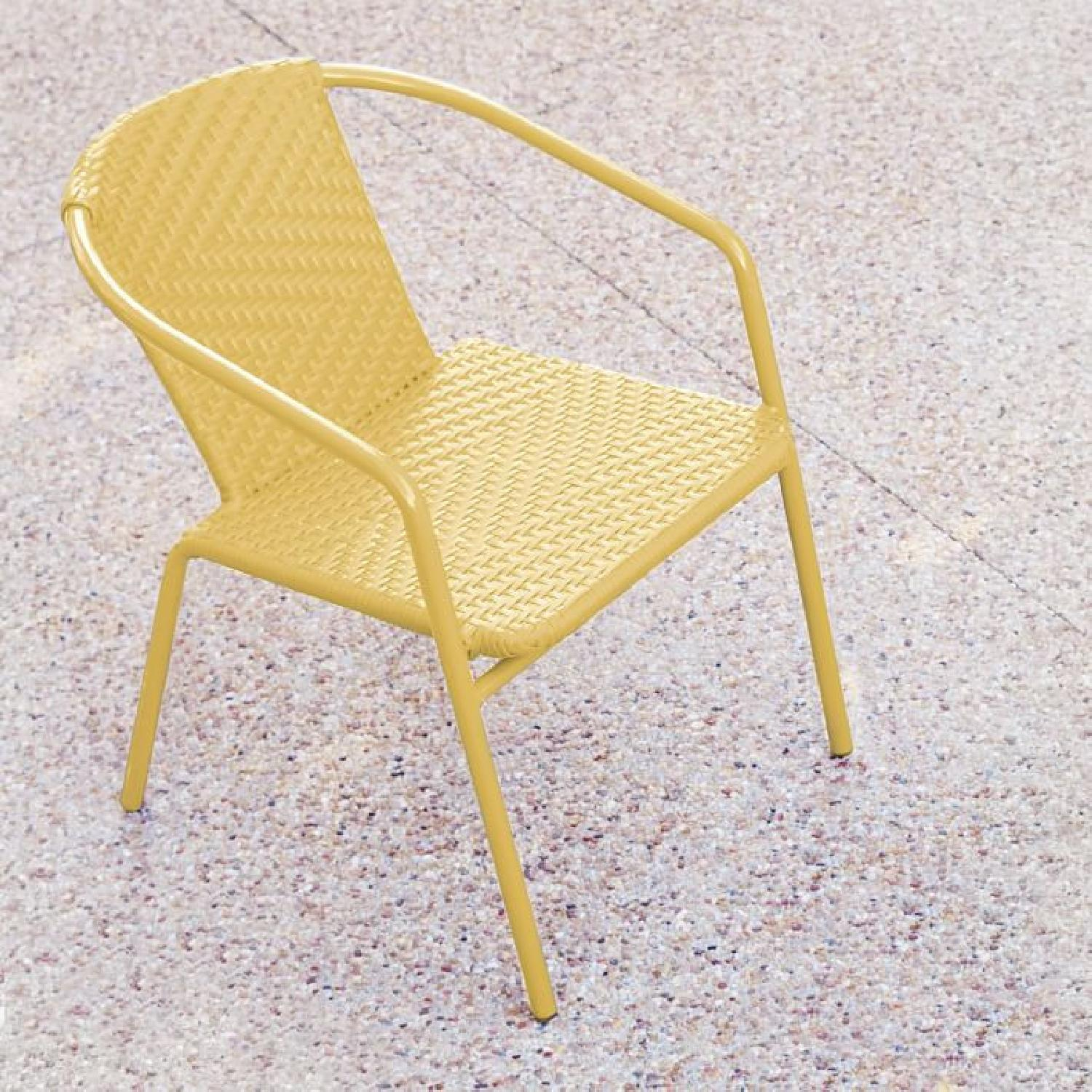 West Elm Woven Outdoor Stacking Chairs - image-0