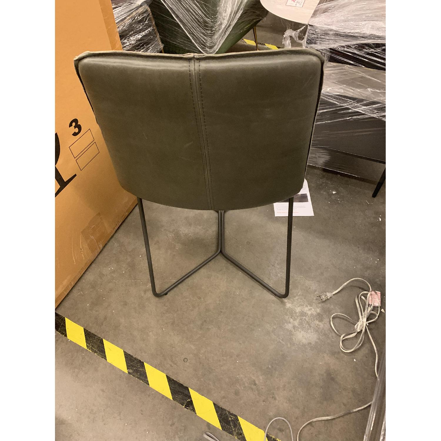 West Elm Slope Dining Chair in Charcoal Leather - image-3