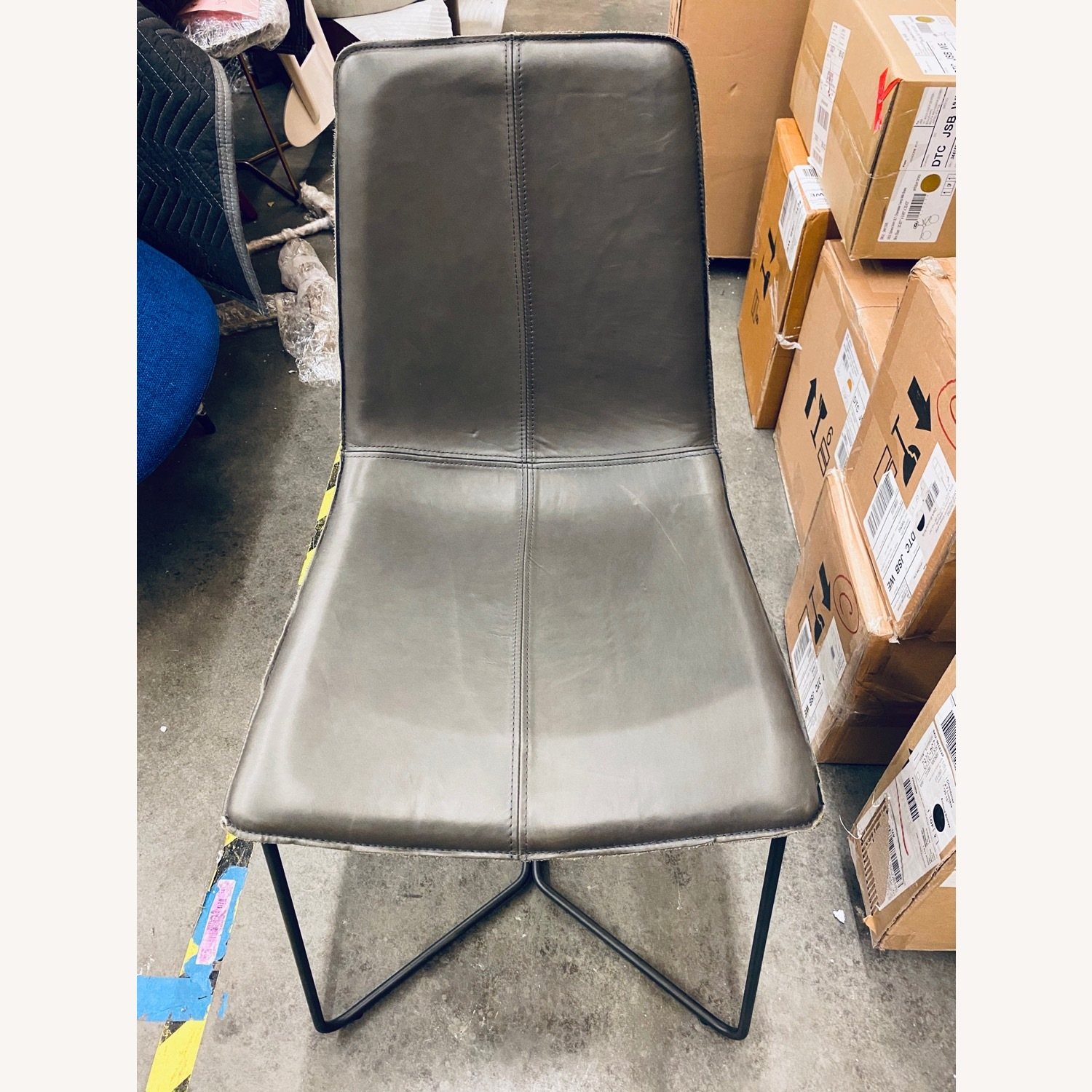 West Elm Slope Dining Chair in Charcoal Leather - image-4