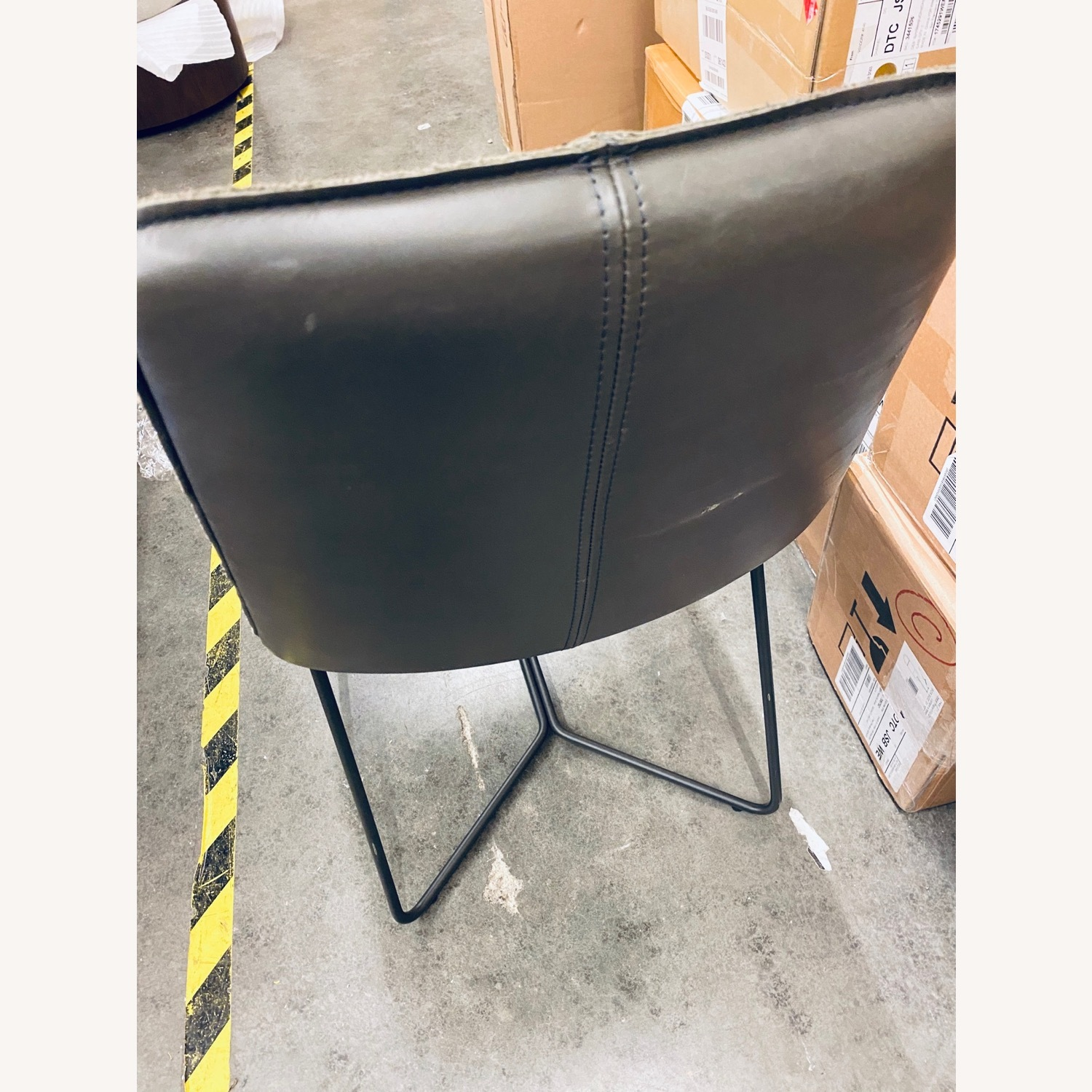 West Elm Slope Dining Chair in Charcoal Leather - image-8