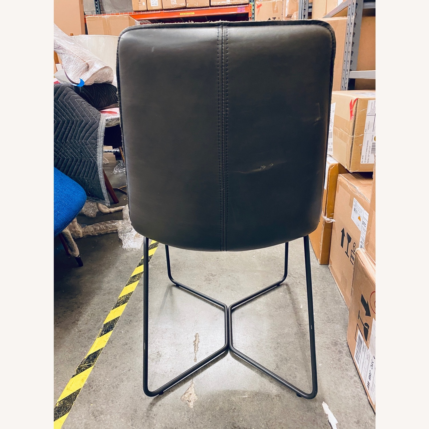 West Elm Slope Dining Chair in Charcoal Leather - image-7