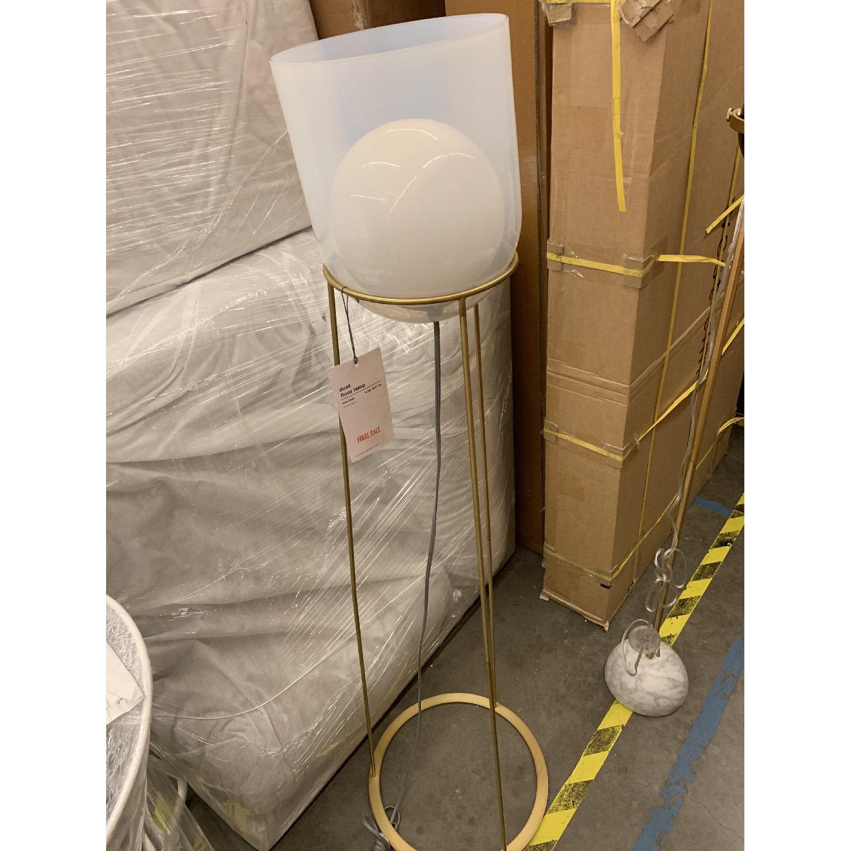 West Elm Duet Floor Lamp in Transparent White/Antique Brass - image-2