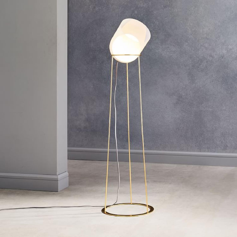 West Elm Duet Floor Lamp in Transparent White/Antique Brass - image-0