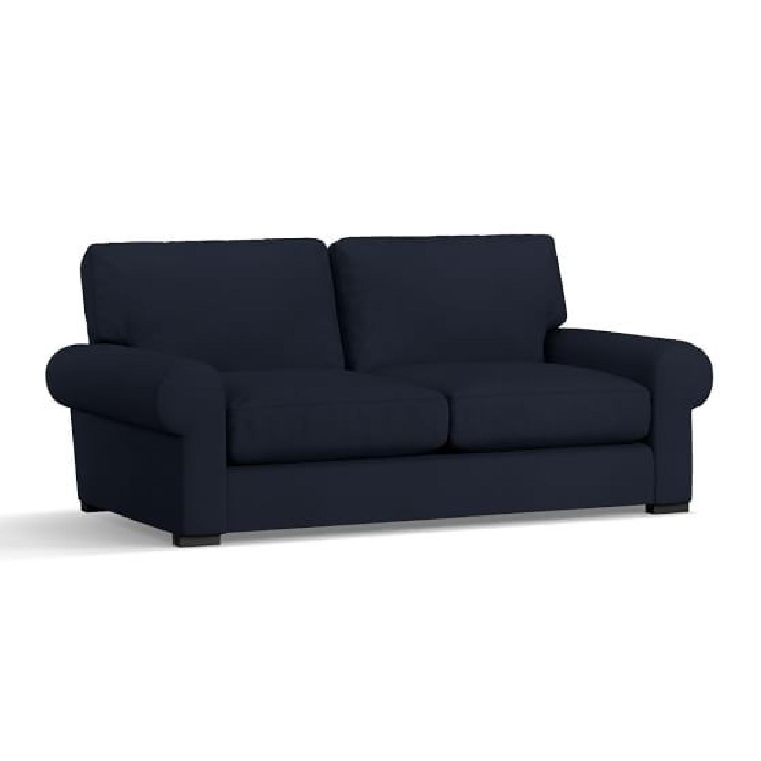 Pottery Barn Blue Fabric Sofa - image-0