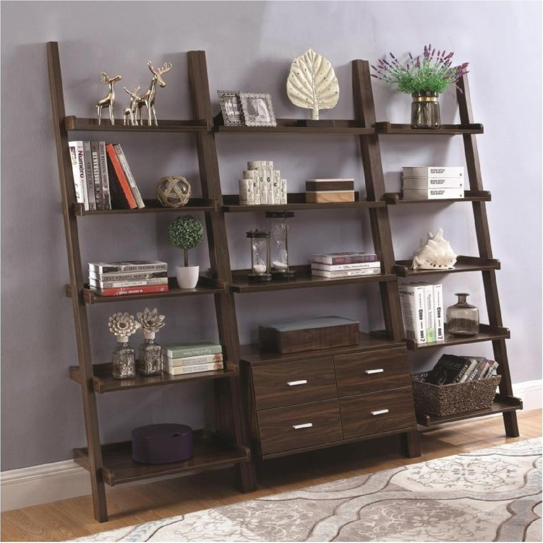 Ladder Bookcase In Dark Walnut w/ 4 Storage Drawers - image-3