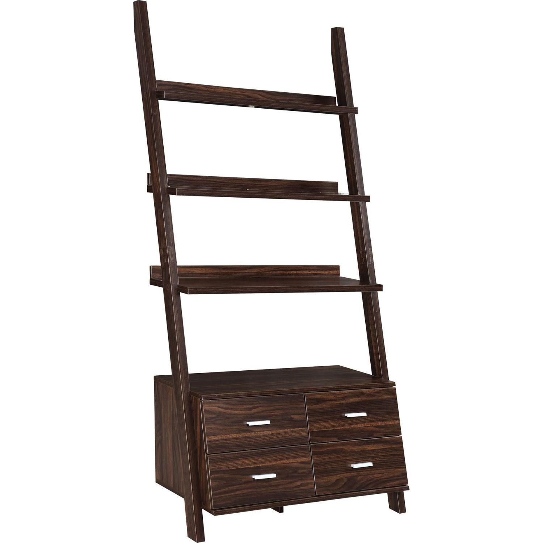 Ladder Bookcase In Dark Walnut w/ 4 Storage Drawers - image-0