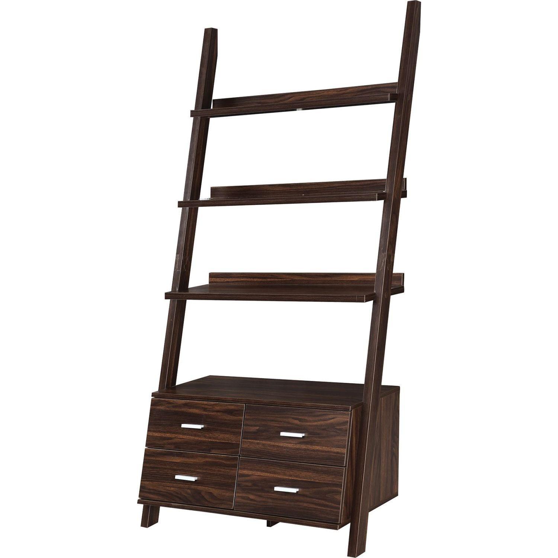 Ladder Bookcase In Dark Walnut W 4 Storage Drawers