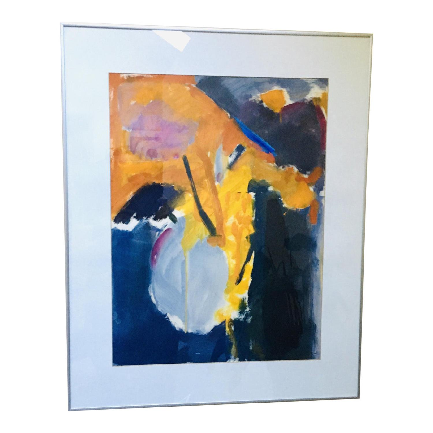 1980s Gray Vase Abstract Expressionist Still Life Painting - image-5