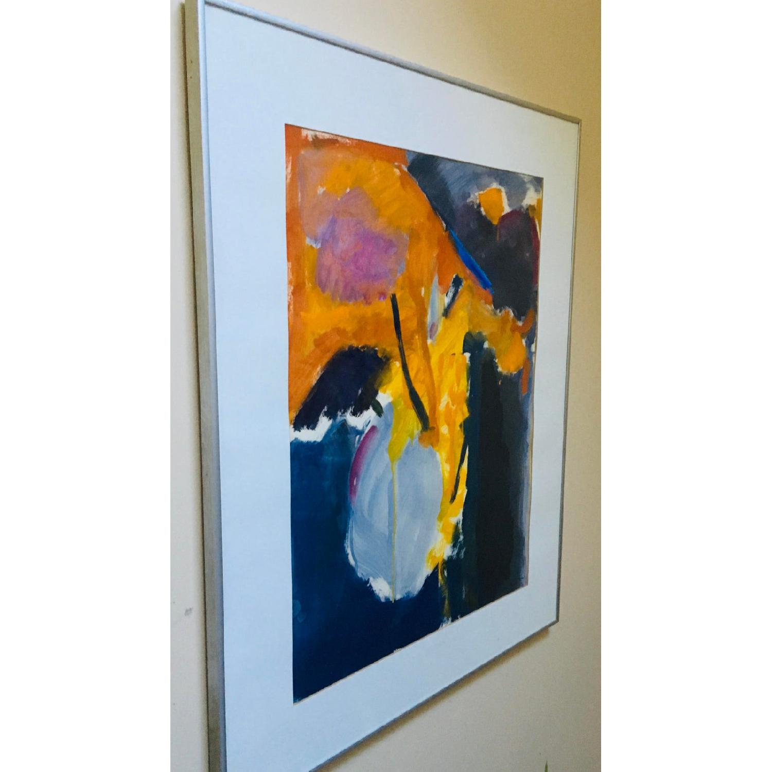 1980s Gray Vase Abstract Expressionist Still Life Painting - image-3