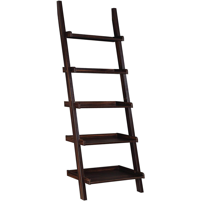 5-Shelf Ladder Bookcase in Dark Walnut Finish - image-0