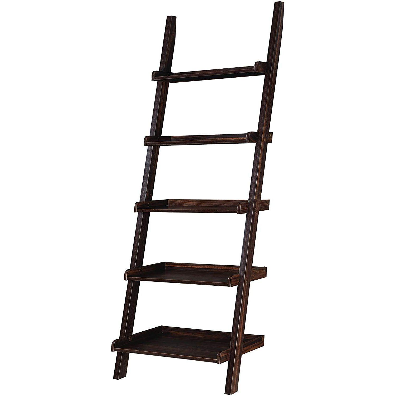 5-Shelf Ladder Bookcase in Dark Walnut Finish - image-1