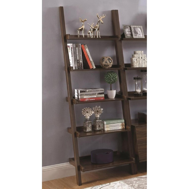 5-Shelf Ladder Bookcase in Dark Walnut Finish - image-2