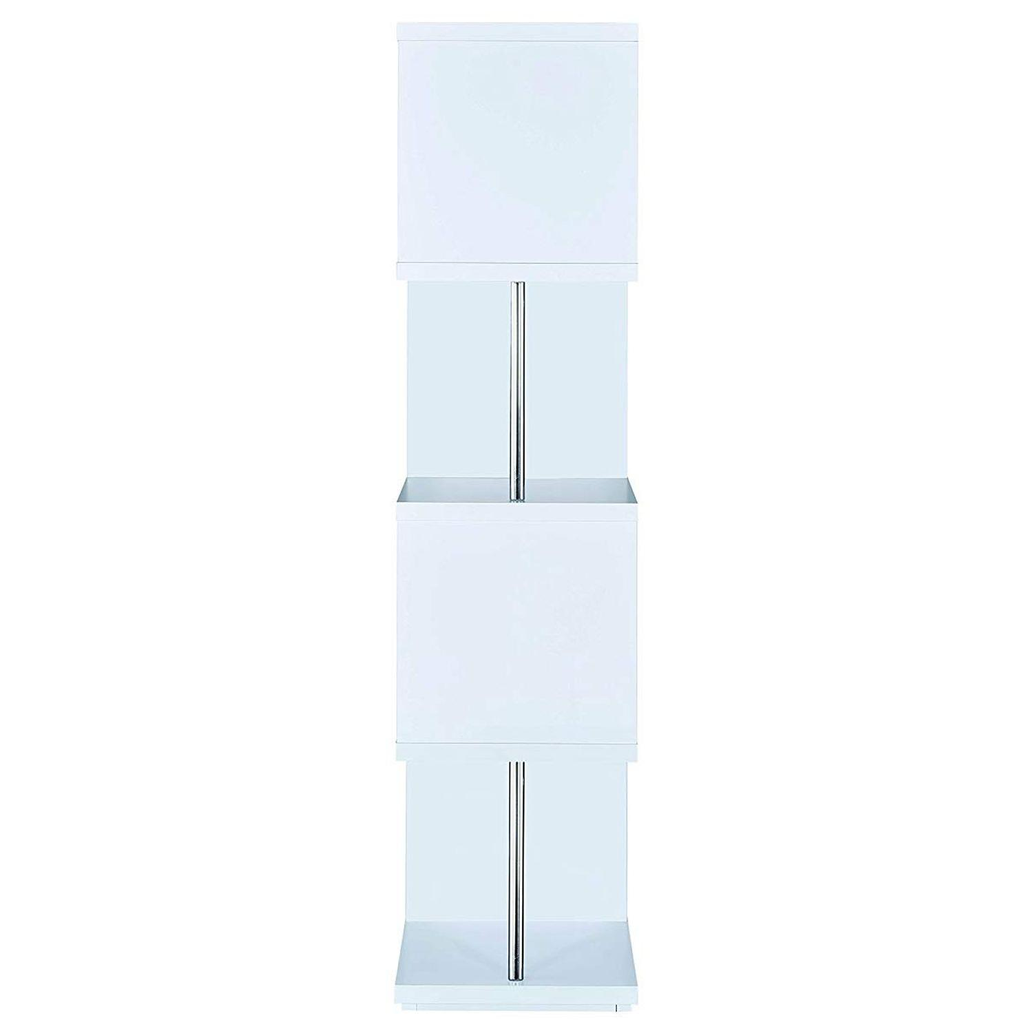 4-Tier White Bookcase w/ Chrome Metal Bar Accents - image-1