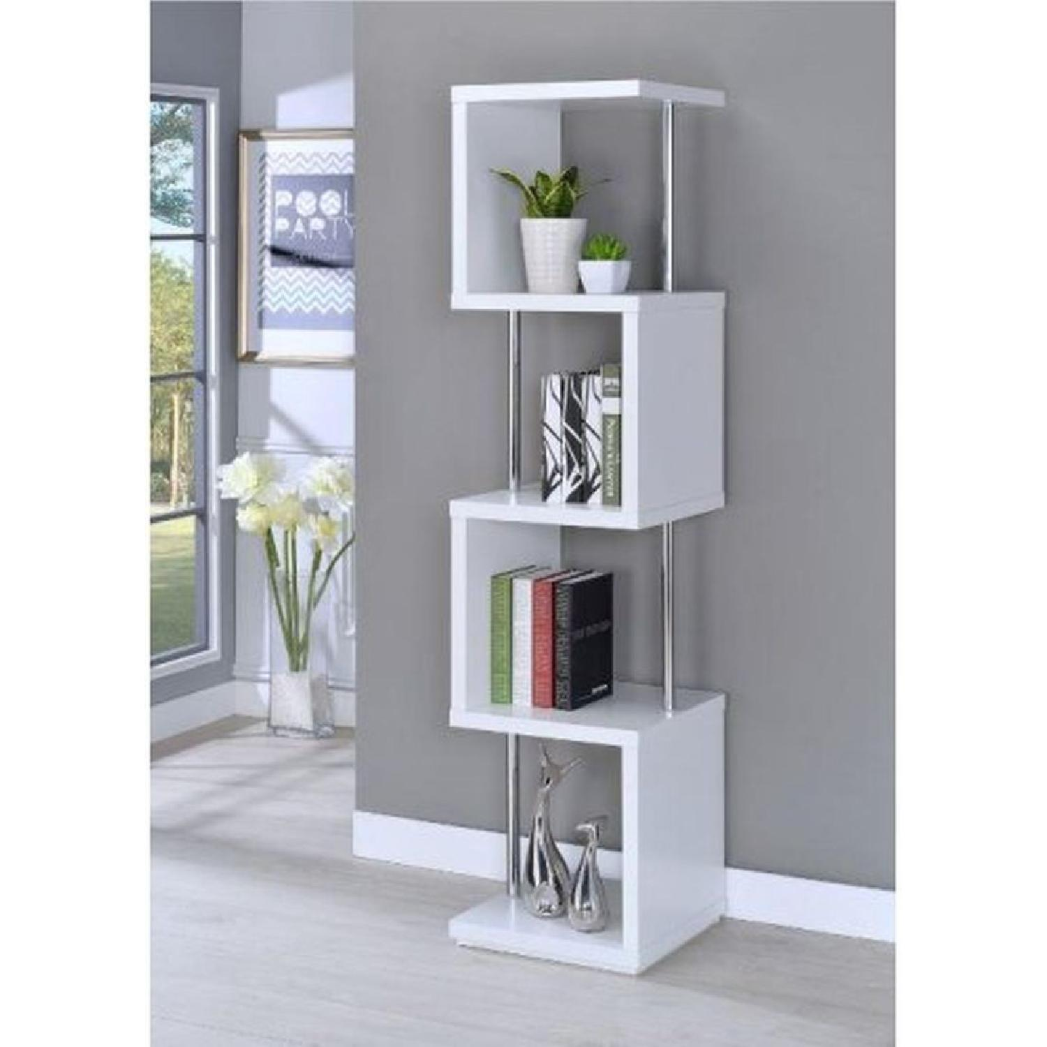 4-Tier White Bookcase w/ Chrome Metal Bar Accents - image-4