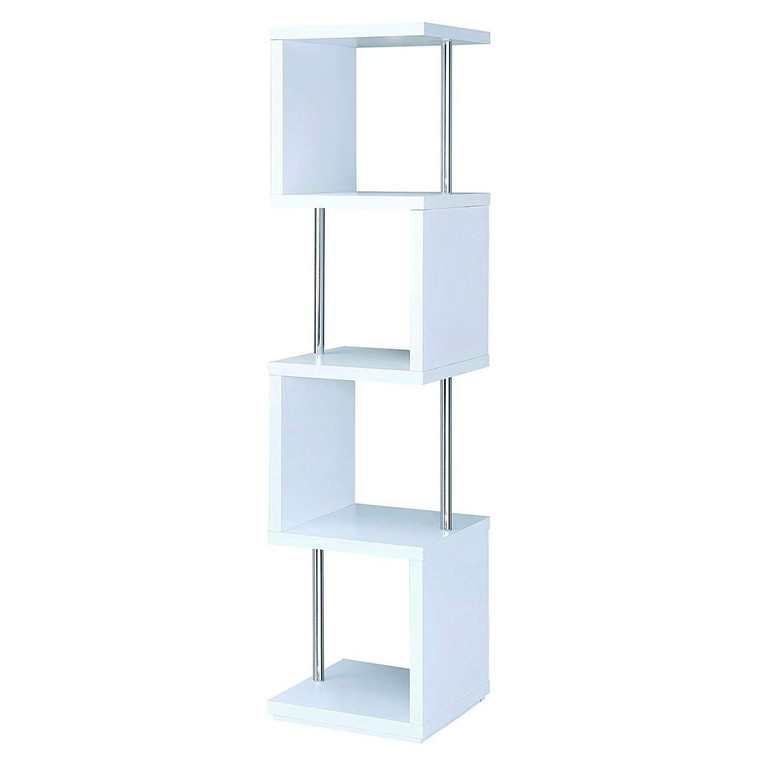 4-Tier White Bookcase w/ Chrome Metal Bar Accents - image-0