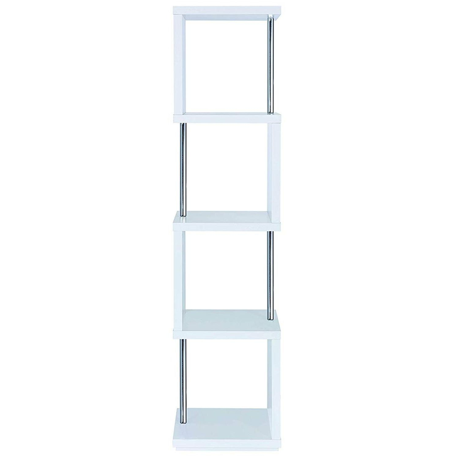 4-Tier White Bookcase w/ Chrome Metal Bar Accents - image-2