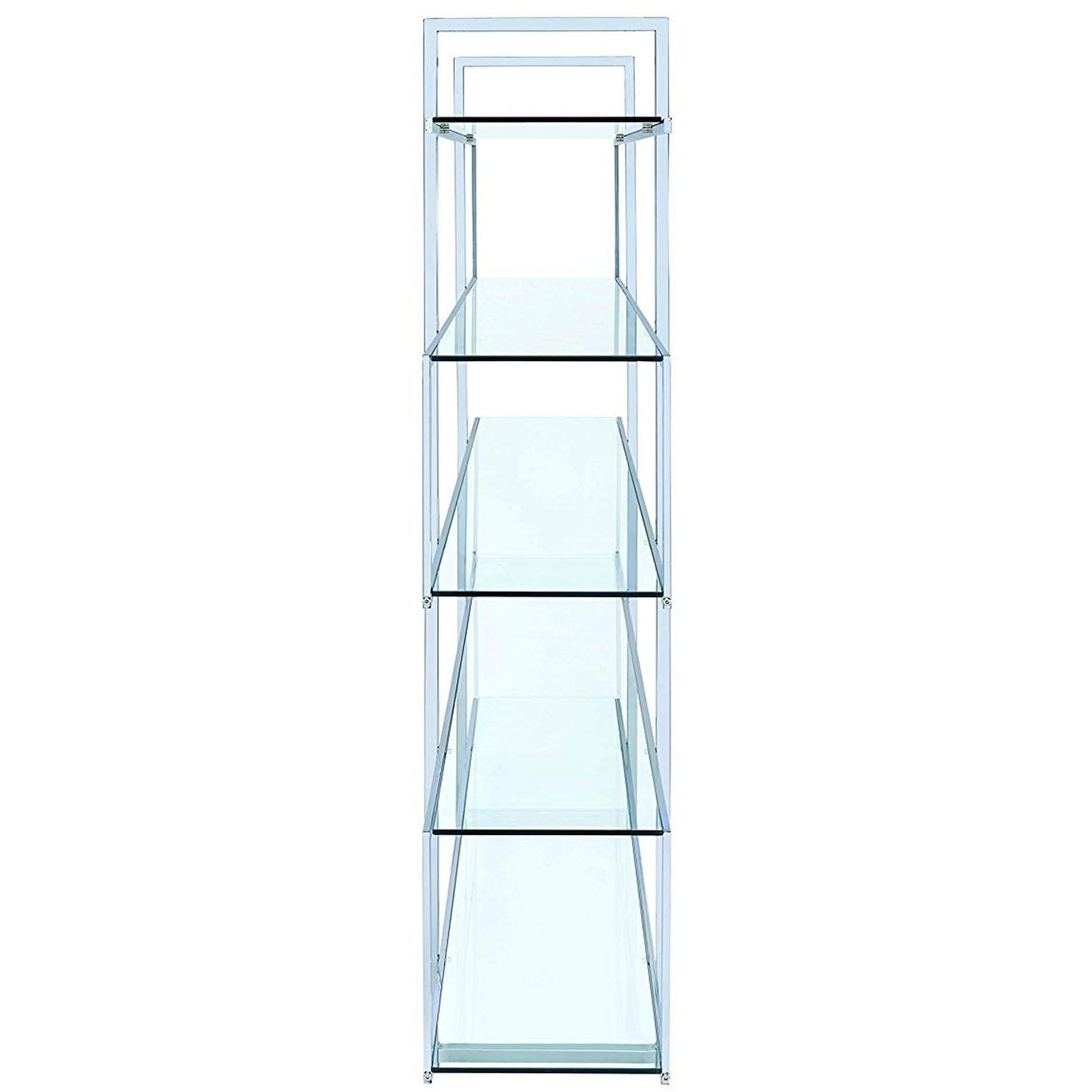 4-Tier White Bookcase w/ Chrome Metal Bar Accents - image-3