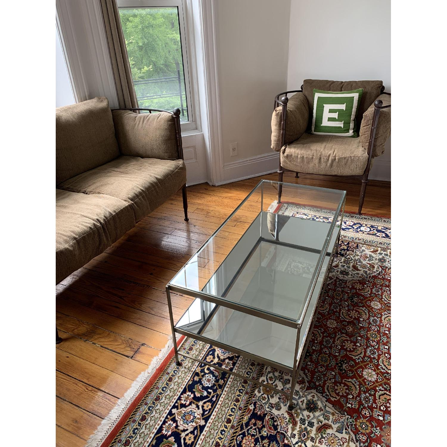 Pottery Barn Brass Coffee Table W Glass Top Amp Mirror