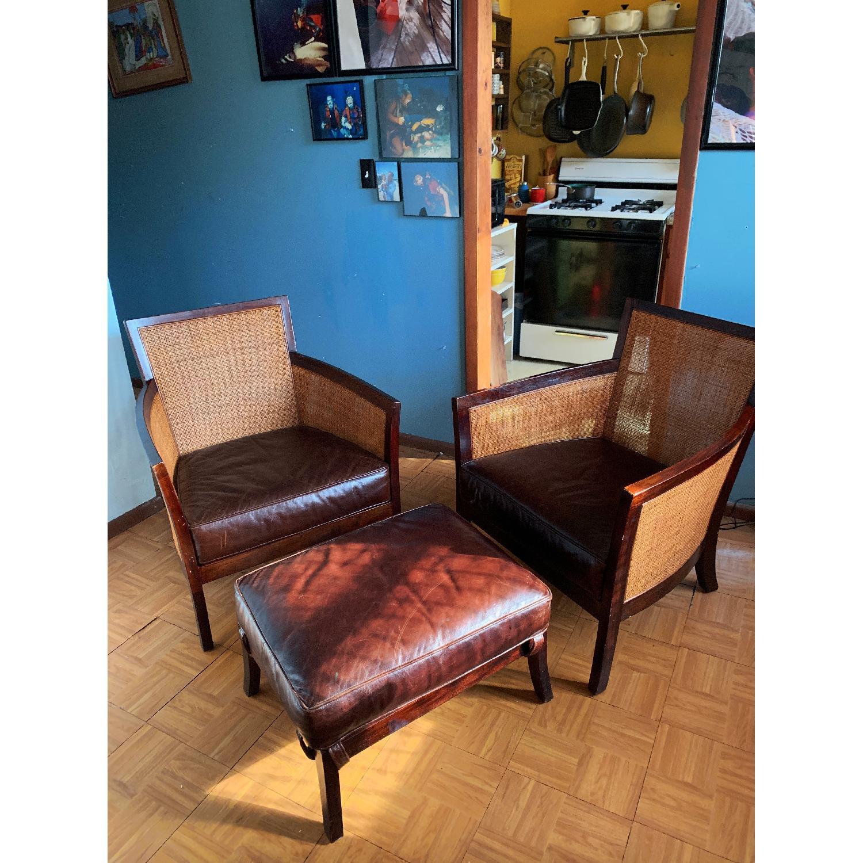 Crate & Barrel Rattan Blake Lounge Leather Chairs & Ottoman - image-1