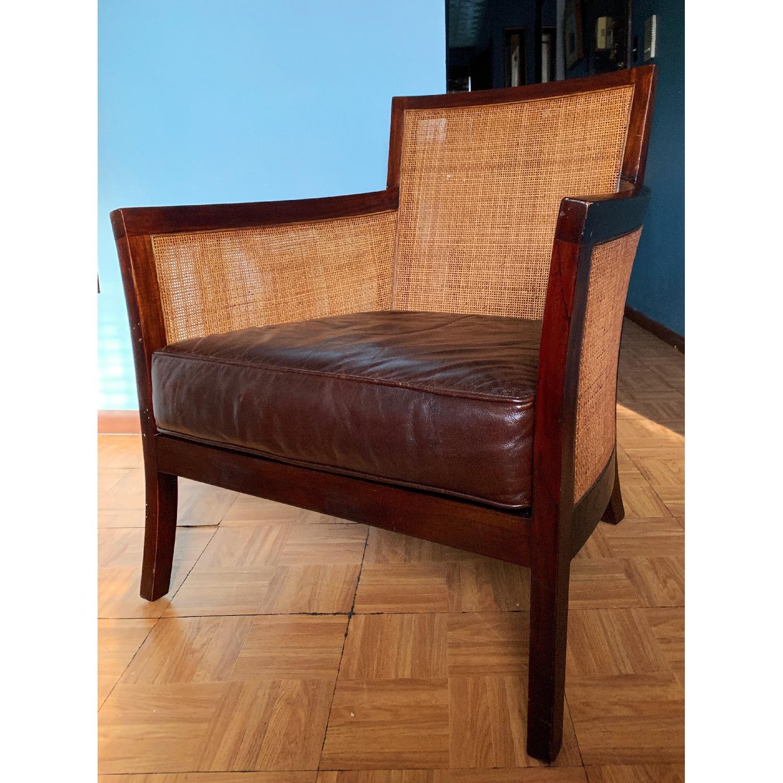 Crate & Barrel Rattan Blake Lounge Leather Chairs & Ottoman - image-2