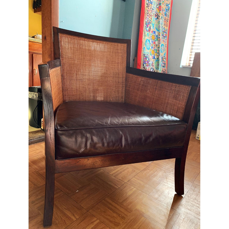Crate & Barrel Rattan Blake Lounge Leather Chairs & Ottoman - image-4