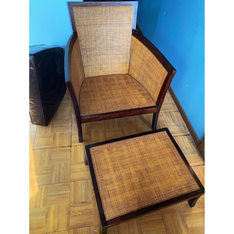 Crate & Barrel Rattan Blake Lounge Leather Chairs & Ottoman - image-5