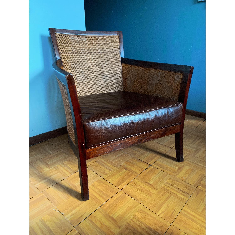 Crate & Barrel Rattan Blake Lounge Leather Chairs & Ottoman - image-6
