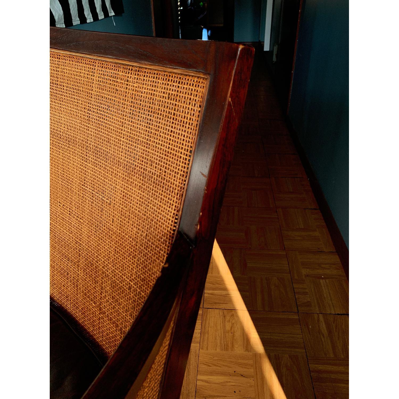 Crate & Barrel Rattan Blake Lounge Leather Chairs & Ottoman - image-9